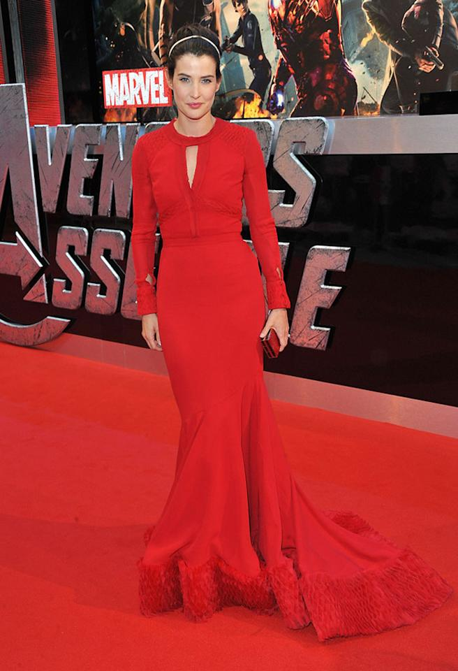 """Cobie Smulders attends the London premiere of """"Marvel's The Avengers"""" on April 19, 2012 in London, England."""