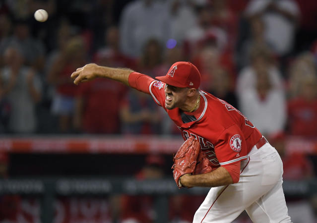Los Angeles Angels relief pitcher Blake Parker throws to a Toronto Blue Jays batter during the ninth inning of a baseball game Friday, June 22, 2018, in Anaheim, Calif. (AP Photo/Mark J. Terrill)