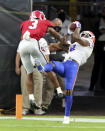 Florida wide receiver Trevon Grimes (8) makes a touchdown catch against Georgia defensive back Tyson Campbell (3) during the first half of a NCAA college football, Saturday, Nov. 7, 2020, in Jacksonville, Fla. (Curtis Compton/Atlanta Journal-Constitution via AP)