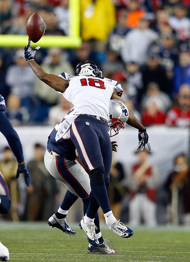 FOXBORO, MA - DECEMBER 10: Steve Gregory #28 of the New England Patriots breaks up a pass intended for Lestar Jean #18 of the Houston Texans in the first half at Gillette Stadium on December 10, 2012 in Foxboro, Massachusetts. (Photo by Jim Rogash/Getty Images)