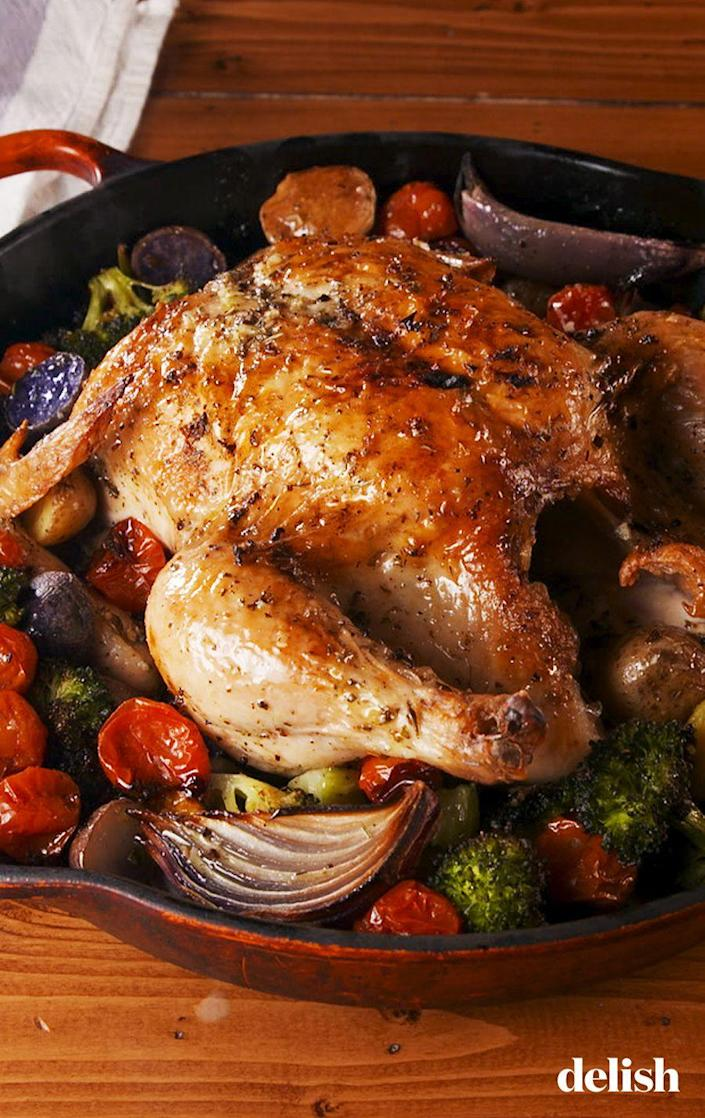 "<p>Turn your leftovers into chicken salad or toss some into chicken noodle soup! </p><p>Get the recipe from <a href=""https://www.delish.com/cooking/recipe-ideas/a26241824/tuscan-butter-roast-chicken-recipe/"" rel=""nofollow noopener"" target=""_blank"" data-ylk=""slk:Delish"" class=""link rapid-noclick-resp"">Delish</a>.</p>"