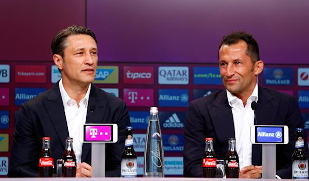 Soccer Football - Bayern Munich Press Conference - Allianz Arena, Munich, Germany - July 2, 2018 Bayern Munich coach Niko Kovac and Bayern Munich sporting director Hasan Salihamidzic during the press conference REUTERS/Michaela Rehle