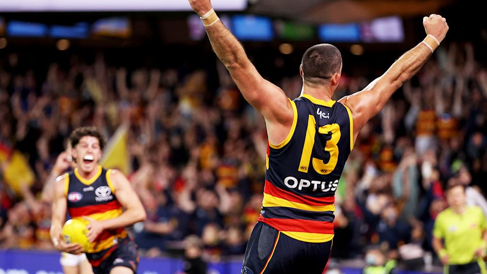 Taylor Walker, pictured here after the Crows' win over Melbourne.