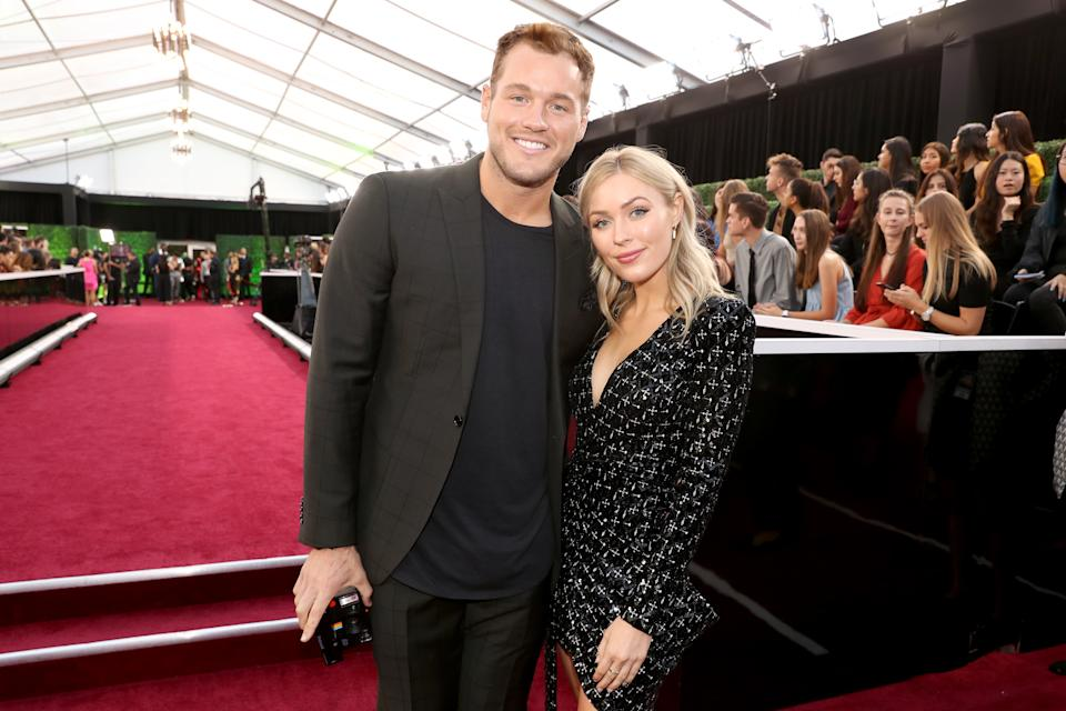 SANTA MONICA, CALIFORNIA - NOVEMBER 10: 2019 E! PEOPLE'S CHOICE AWARDS -- Pictured: (l-r) Colton Underwood and Cassie Randolph arrive to the 2019 E! People's Choice Awards held at the Barker Hangar on November 10, 2019. -- NUP_188992 (Photo by Christopher Polk/E! Entertainment/NBCU Photo Bank via Getty Images)