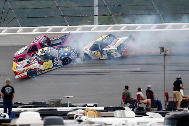 Clay Greenfield's truck crashes at Talladega. (Getty)