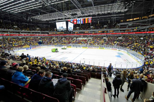 The rink is prepared ahead of the IIHF World Junior Championship Group B preliminary round ice hockey match between Sweden and Finland at Malmo Arena in Malmo, December 28, 2013. REUTERS/Ludvig Thunman/TT News Agency (SWEDEN - Tags: SPORT ICE HOCKEY) ATTENTION EDITORS - THIS IMAGE HAS BEEN SUPPLIED BY A THIRD PARTY. IT IS DISTRIBUTED, EXACTLY AS RECEIVED BY REUTERS, AS A SERVICE TO CLIENTS. SWEDEN OUT. NO COMMERCIAL OR EDITORIAL SALES IN SWEDEN. NO COMMERCIAL SALES