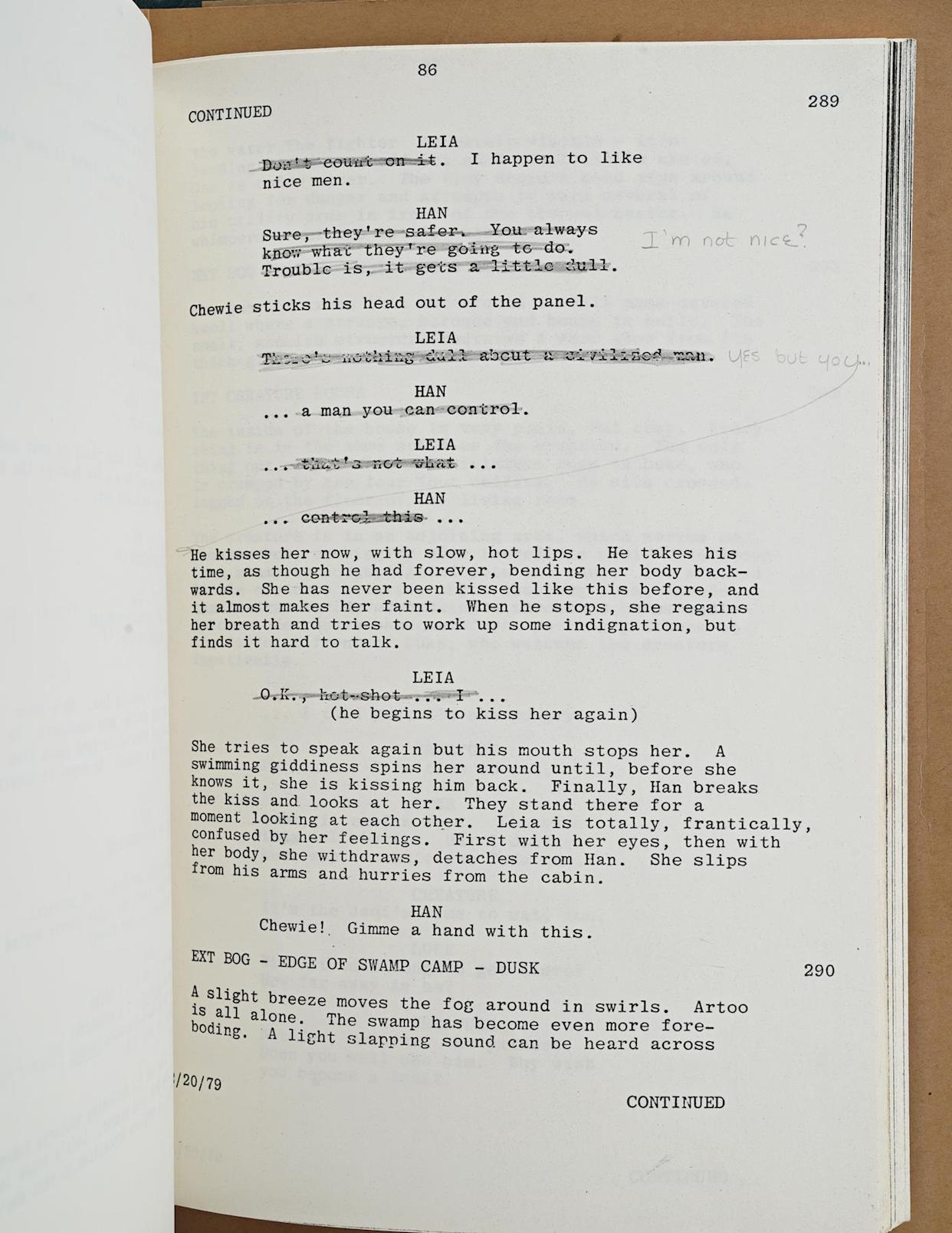 Carrie Fisher's Empire Strikes Back script (Prop Store)