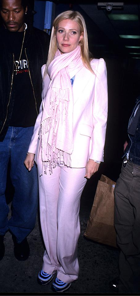 "<p class=""MsoNormal"">The ""Se7en"" actress showed off an unusually funky fashion sense at a charity event in 2001 when she donned a boxy white suit over a T-shirt and paired the ensemble with clunky blue sneakers and a fashion staple of the new millennium … a Pashmina! (3/12/2001)</p>"