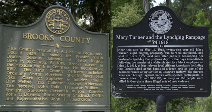 A plaque in Quitman town square honoring Preston Brooks, right and a plaque near what is believed to be the site of the 1918 lynching of Mary Turner and 12 others in Quitman, Ga. (Photos: Sam Matthews/Yahoo News)