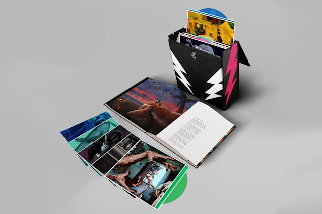<p>Leave it to Damon Albarn and company to prove that a boxed set need not be limited to archival material. The cartoon band blows out its latest album, <em>Humanz</em>, as a Super Deluxe Box Set with a 14-disc colored-vinyl extravaganza boasting 14 bonus tracks as B-sides. Each 12-inch comes packaged in its own sleeve with individual artwork. It's topped off with a 54-page, cloth-bound hardcover book featuring original artwork by the mastermind behind the band's look, Jamie Hewlett. And if you don't want to spin your vinyl, a download card is also included. This set will drive collectors ape, but note, it's insanely pricey. For the hardest, hardcore fans only. $350. (Photo: Gorillaz.com) </p>