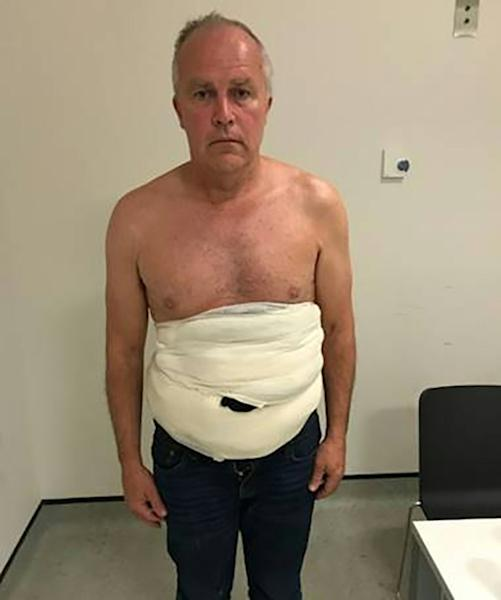 """Jeffrey Lendrum was found to be wearing a body belt of bandages concealing eggs from vultures, falcons and kites as well as two newly-hatched African fishing eagles chicks His body belt was designed to """"brood"""" his stash so the chicks would not die before he sold them"""