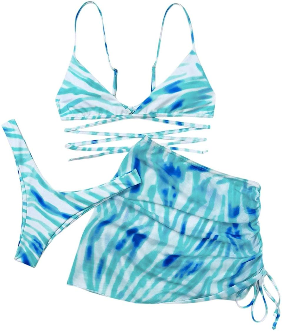 <p>The <span>SOLY HUX Women's Tie Dye Wrap Bikini Bathing Suits with Mesh Beach Skirt</span> ($20) comes in so many different styles, colors, and patterns you'll be looking fierce all summer long.</p>