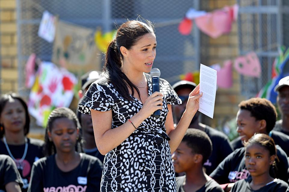 Meghan makes a speech during the engagement at the Nyanga township in Cape Town. [Photo: Getty]