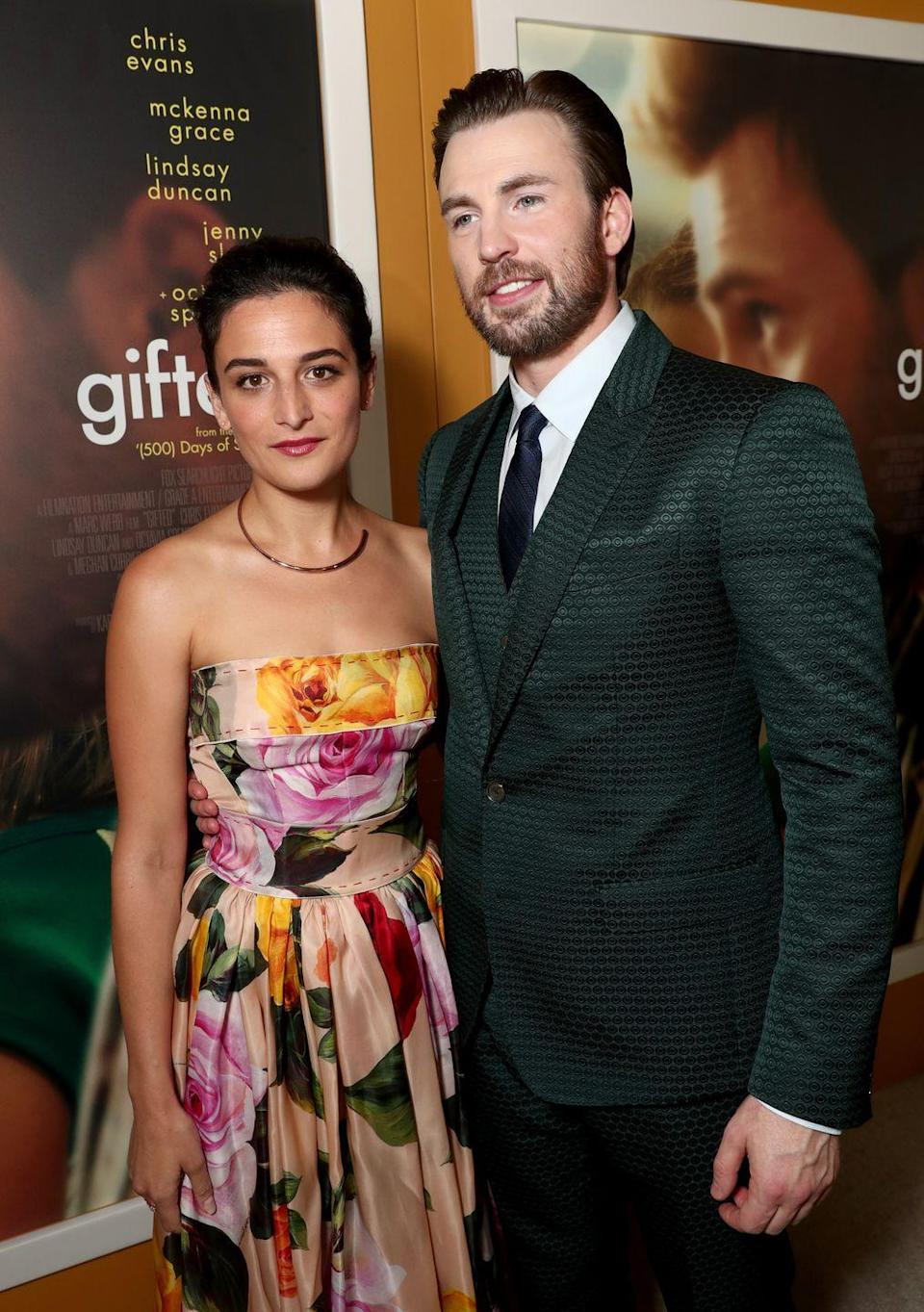 "<p>Slate and Evans met on the set of <em>Gifted</em> and just as their characters fell in love on screen, a romance started to form in real life. Sadly, the pair ended things before the movie officially premiere but continued to work together to promote the movie. <a href=""https://www.elle.com/culture/a19562480/jenny-slate-and-chris-evans-broke-up-again/"" rel=""nofollow noopener"" target=""_blank"" data-ylk=""slk:Even after their split"" class=""link rapid-noclick-resp"">Even after their split</a>, Evans <span class=""redactor-unlink"">told</span> <em>People </em>that Slate was his ""favorite human.""</p>"