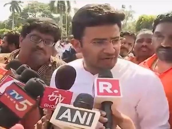 BJP MP Tejasvi Surya speaks to the media on Tuesday in Hyderabad. (Photo/ANI)