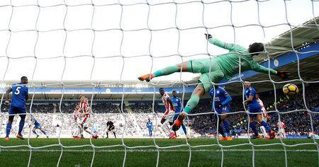 Soccer Football - Premier League - Leicester City vs Stoke City - King Power Stadium, Leicester, Britain - February 24, 2018 Stoke City's Jack Butland saves a shot from Leicester City's Riyad Mahrez Action Images via Reuters/Andrew Boyers