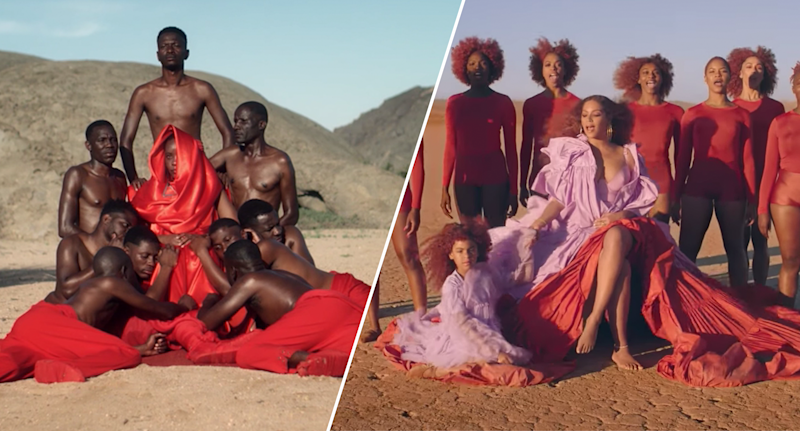 Critics are comparing Beyoncé's newest music videos to that of a South African musician's. On the left, is an image from Petite Noir's 2018 video and on the right, a still from Beyoncé's new Lion King video.