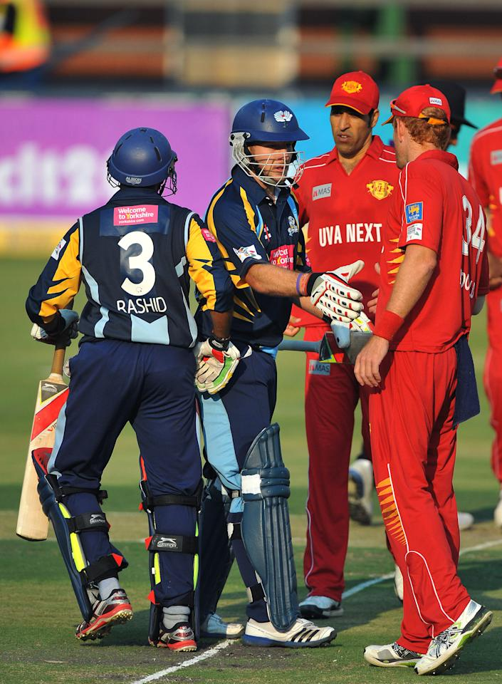 JOHANNESBURG, SOUTH AFRICA - OCTOBER 09:  David Miller of Yorkshire is congratulated after scoring the winning run during the Karbonn Smart CLT20 pre-tournament Qualifying Stage match between Yorkshire (England) and Uva Next (Sri Lanka) at Bidvest Wanderers Stadium on October 09, 2012 in Johannesburg, South Africa.  (Photo by Duif du Toit/Gallo Images/Getty Images)
