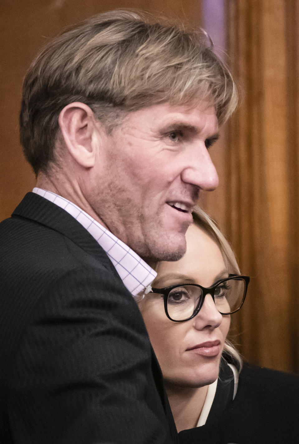 Michelle Dewberry, the former winner of The Apprentice and Brexit Party candidate for Hull West & Hessle, with former Crystal Palace owner Simon Jordan after she failed to win the Kingston upon Hull West & Hessle seat at the Guildhall in Hull in the 2019 General Election. (Photo by Danny Lawson/PA Images via Getty Images)