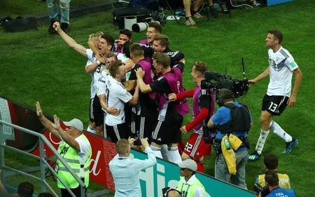 Soccer Football - World Cup - Group F - Germany vs Sweden - Fisht Stadium, Sochi, Russia - June 23, 2018 Germany's Toni Kroos celebrates scoring their second goal with teammates REUTERS/Hannah McKay