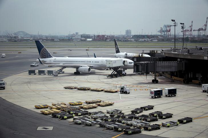 United Airlines planes are seen on platform at the Newark Liberty International Airport in New Jersey