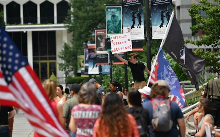 Supporters of World Wide Rally for freedom 3.0, anti-vaccine protesters rally against coronavirus restrictions in Raleigh, North Carolina - Anadolu