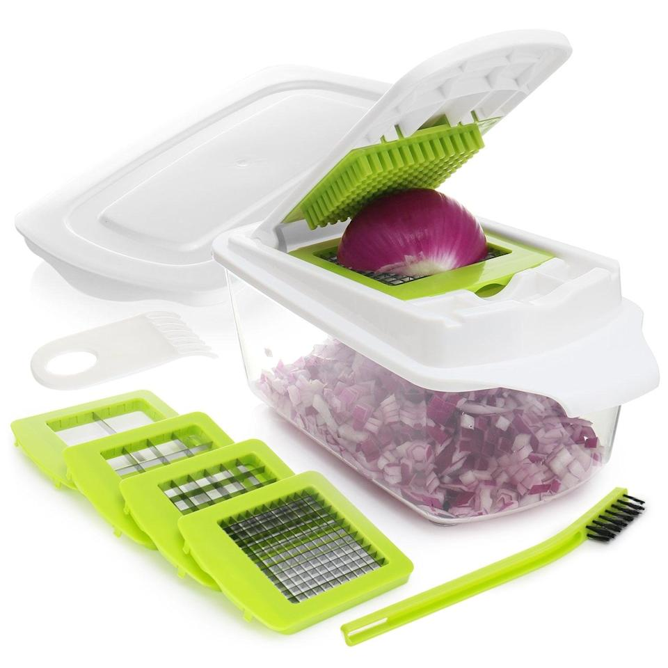 <p>This <span>Onion Chopper Pro Vegetable Chopper</span> ($17) is like having a kitchen assistant to help speed up prepping time.</p>