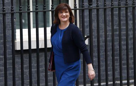 FILE PHOTO: Nicky Morgan arrives for a cabinet meeting at number 10 Downing Street, in central London, Britain July 12, 2016. REUTERS/Neil Hall/File Photo