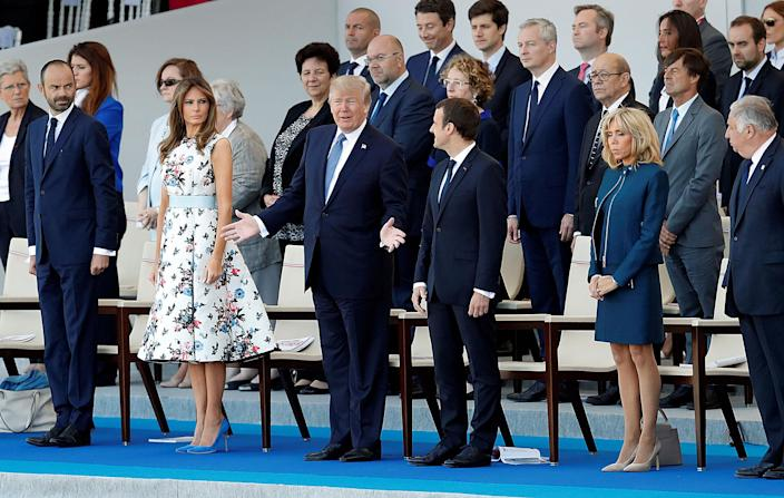 <p>French President Emmanuel Macron, his wife Brigitte Macron, President Donald Trump and First Lady Melania Trump, French Prime Minister Edouard Philippe and Senate speaker Gerard Larcher attend the traditional Bastille Day military parade on the Champs-Elysees in Paris, France, July 14, 2017. (Photo: Yves Herman/Reuters) </p>