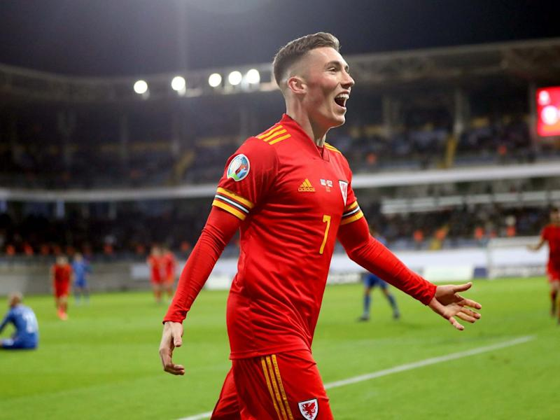 Harry Wilson celebrates scoring his side's second goal: PA