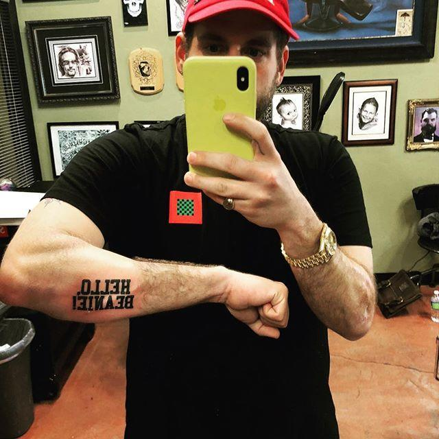 """<p>In March 2018, Hill made impressive headway in the race to become world's best brother when he debuted an arm tat featuring the name of his little sister, Beanie Feldstein. The tattoo reads """"Hello, Beanie!"""" in the signature font of <i>Hello, Dolly</i>, the musical in which Feldstein made her Broadway debut.</p>"""