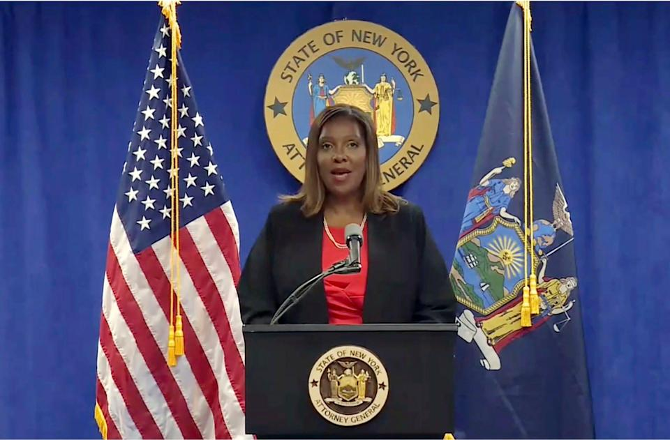 In this still image from video, New York State Attorney General Letitia James addresses a news conference, in New York, Tuesday, Aug. 3, 2021. An investigation into New York Gov. Andrew Cuomo found that he sexually harassed multiple current and former state government employees, state  James announced Tuesday.