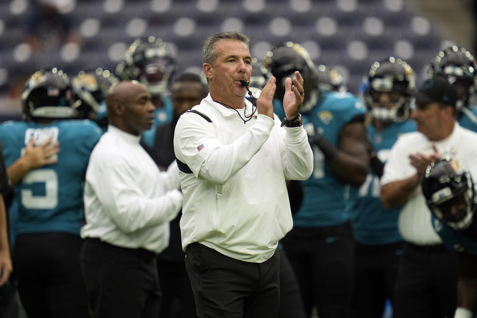 Jacksonville Jaguars coach Urban Meyer blows his whistle before an NFL football game against the Houston Texans Sunday, Sept. 12, 2021, in Houston. (AP Photo/Sam Craft)