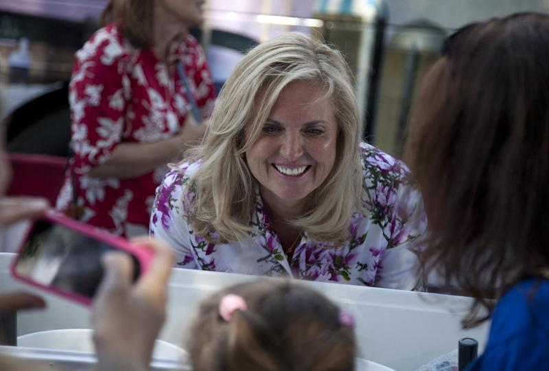 Ann Romney, wife of Republican presidential candidate, former Massachusetts Gov. Mitt Romney talks to supporters during a campaign stop in Milford, N.H., Friday, June 15, 2012. (AP Photo/Evan Vucci)