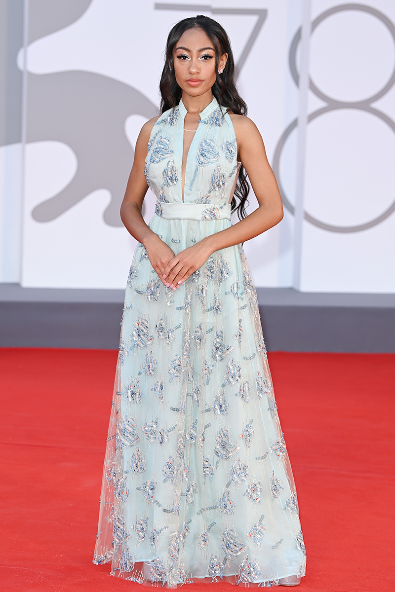 <p>Lexi Underwood looks radiant in this embellished Giorgi0 Armani dress, worn at the Competencia Oficial red carpet.</p>