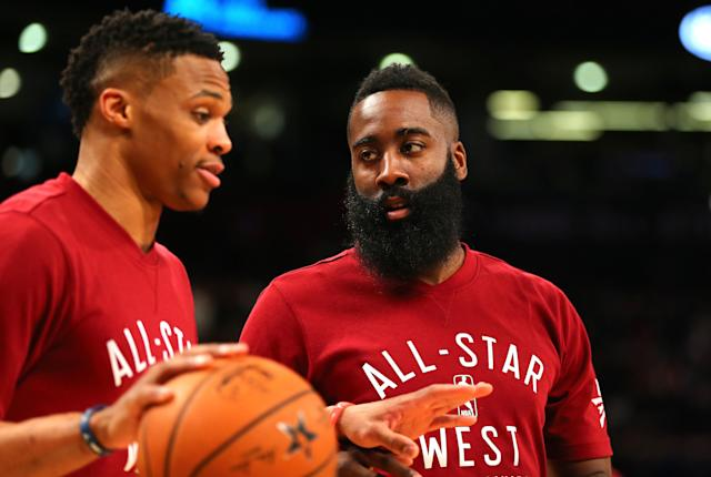 James Harden and Russell Westbrook form one of the biggest enigmas heading into next season. (Elsa/Getty Images)