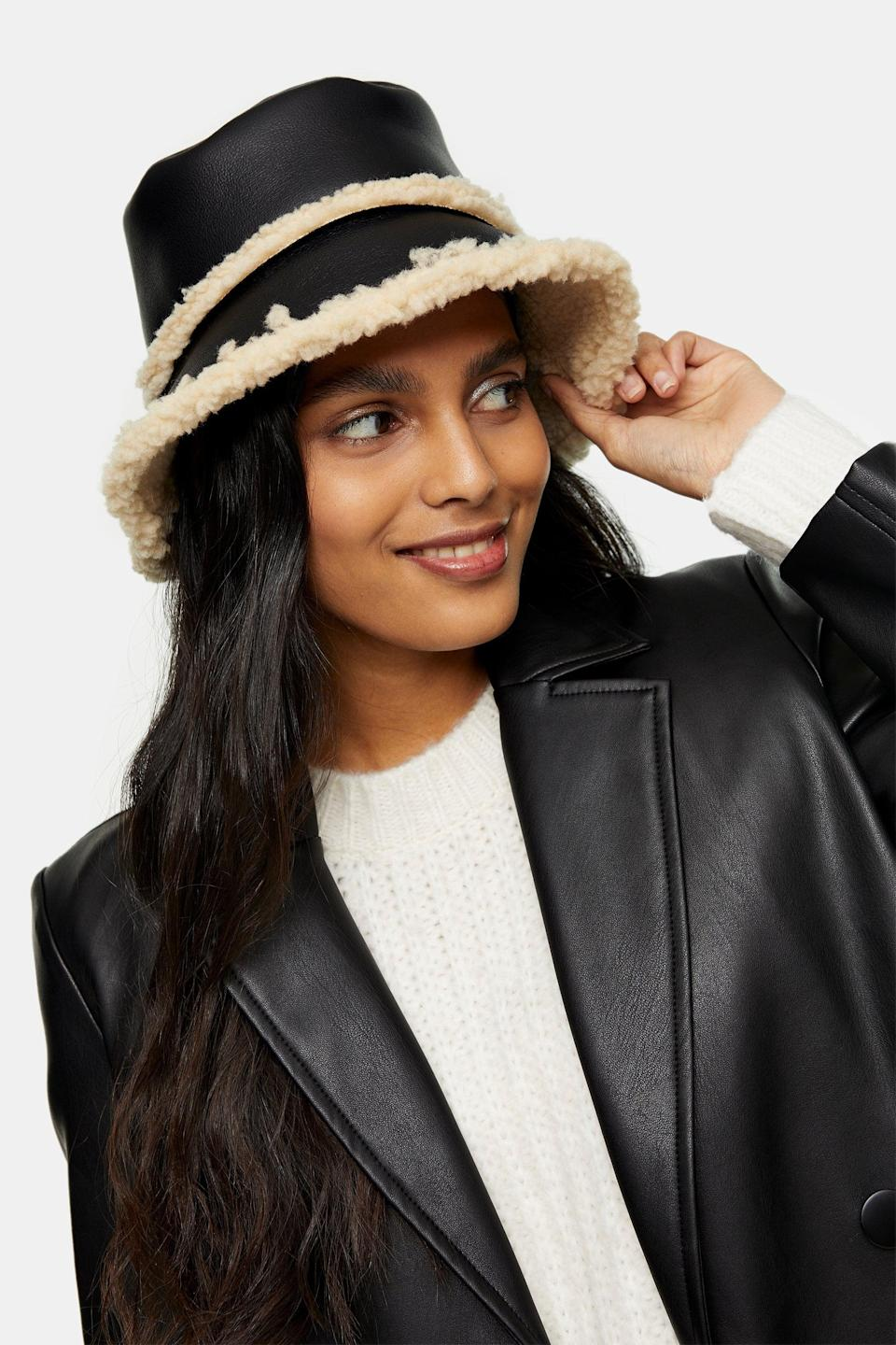 <p>This <span>PU Borg Bucket Hat</span> ($32) will add a cool edge to your look. The color mix makes it so versatile.</p>