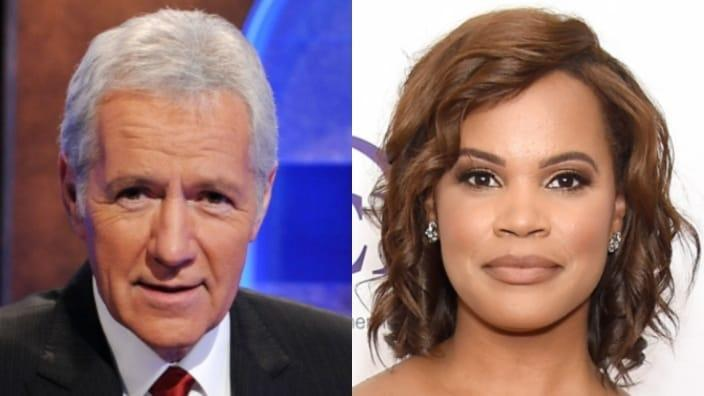 """Late """"Jeopardy!"""" legend Alex Trebek (left) reportedly wanted Laura Coates (right) to replace him at the game show's host. (Photo by Amanda Edwards/Getty Images)"""