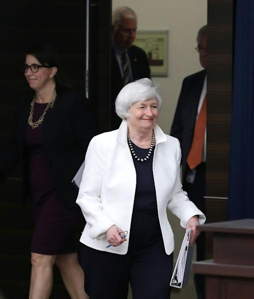 Powell's predecessor Janet Yellen said she would cut rates a little now given low inflation and the impact of trade conflicts (AFP Photo/MARK WILSON)