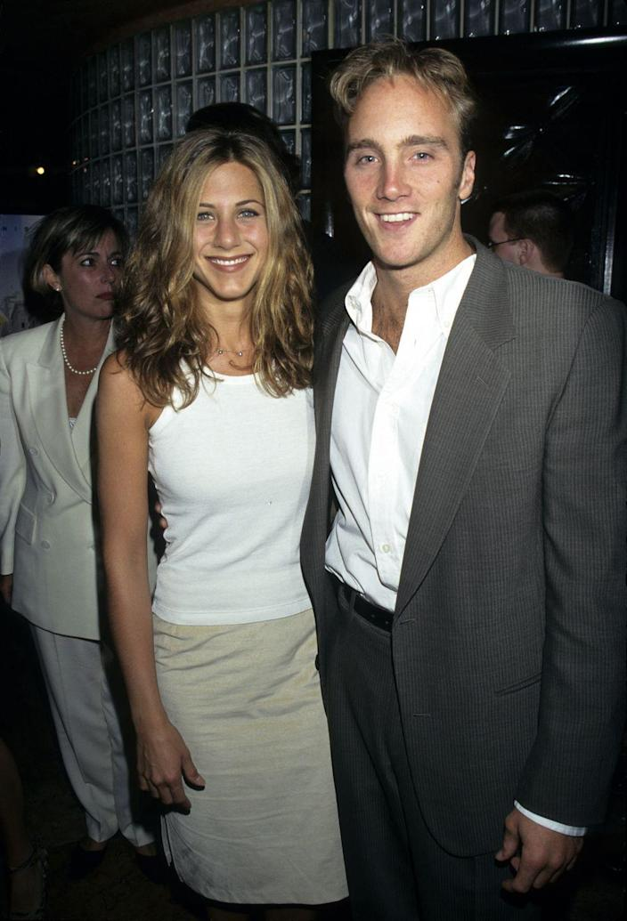"""<p>In 1997, Aniston starred in <em>Picture Perfect</em>, a romantic comedy. It was her first leading role in a major motion picture and she shared the silver screen with Jay Mohr. In the film, Aniston plays Kate, a woman working in advertising who <a href=""""https://www.bustle.com/articles/181780-31-things-you-notice-when-you-rewatch-picture-perfect-as-an-adult"""" rel=""""nofollow noopener"""" target=""""_blank"""" data-ylk=""""slk:concocts a plan"""" class=""""link rapid-noclick-resp"""">concocts a plan</a> to get engaged so she can get a promotion at work.</p>"""