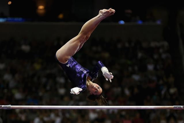SAN JOSE, CA - JUNE 29: McKayla Maroney competes on the uneven bars during day 2 of the 2012 U.S. Olympic Gymnastics Team Trials at HP Pavilion on June 29, 2012 in San Jose, California. (Photo by Ezra Shaw/Getty Images)