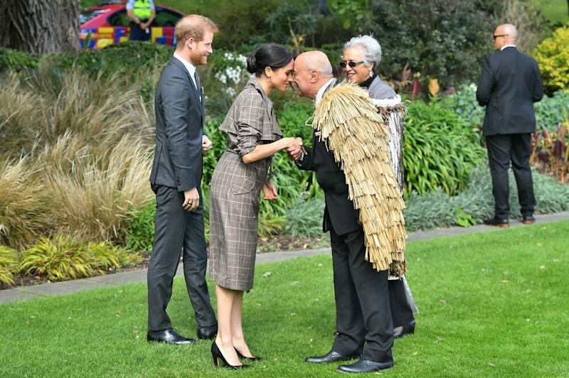 Meghan Markle sharing in hongi, a traditional Maori greeting, upon arriving in New Zealand | Samir Hussein/WireImage