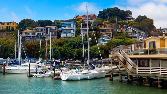 Yacht harbor and waterfront in Tiburon, CA.