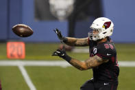 Arizona Cardinals tight end Evan Baylis caches a pass before an NFL football game against the Seattle Seahawks, Thursday, Nov. 19, 2020, in Seattle. (AP Photo/Elaine Thompson)
