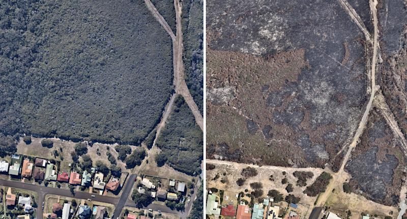 Wallabi Point on NSW mid north coast in aerial photos before and after bushfire.