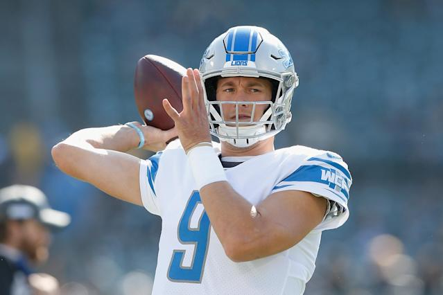 Even Matthew Stafford's wife, Kelly, is shutting down rumors that the Lions wanted to trade him this summer. (Lachlan Cunningham/Getty Images)