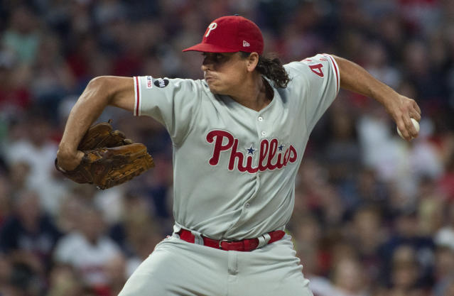 Philadelphia Phillies starting pitcher Jason Vargas delivers to Cleveland Indians' Francisco Lindor during the first inning of a baseball game in Cleveland, Saturday, Sept. 21, 2019. (AP Photo/Phil Long)
