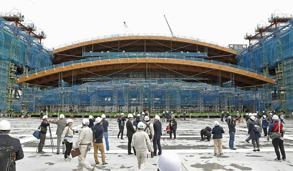 The gymnastics centre is under construction in Tokyo's Ariake district for the 2020 Olympics and Paralympics. Photo: Kyodo