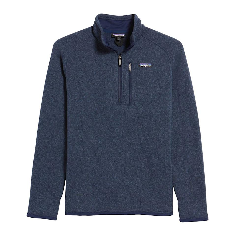 "<p><strong>PATAGONIA</strong></p><p>nordstrom.com</p><p><strong>$99.00</strong></p><p><a rel=""nofollow"" href=""https://shop.nordstrom.com/s/patagonia-better-sweater-quarter-zip-pullover/4177901"">Shop Now</a></p><p>This Patagonia pullover has hundreds of five-star reviews! Guys love it because the fleece lining is super soft and warm, but not bulky. Choose from nine different colors, including navy, black, brown, red, and gray.</p>"