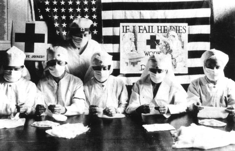 Red Cross volunteers fighting against the Spanish flu epidemic in the United States in 1918 (Photo by Apic/Getty Images)